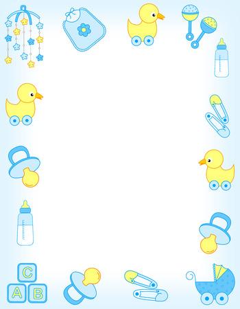 Foto de Illustration of a baby shower invitation card / border / frame or baby arrival announcement for a boy - Imagen libre de derechos