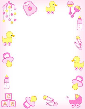 Foto de Illustration of a baby shower invitation card / border / frame or baby arrival announcement for a girl - Imagen libre de derechos