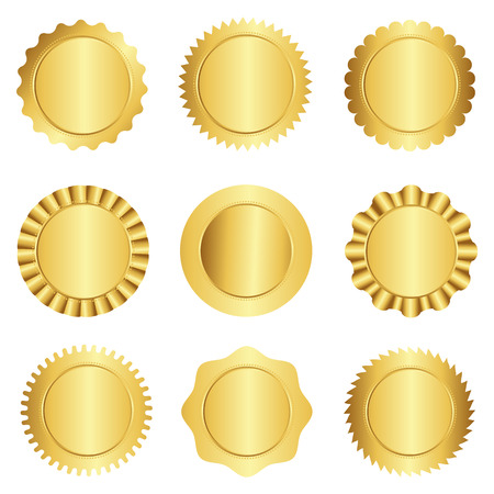 Illustration pour Set of different gold approval seal , stamp, badge, and rosette shapes isolated on white - image libre de droit