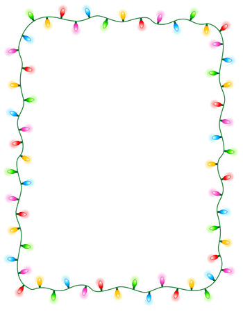 Ilustración de Colorful glowing christmas lights border / frame. Colorful holiday lights illustration - Imagen libre de derechos