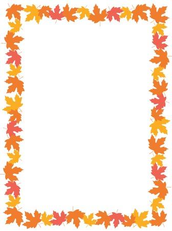 Ilustración de Autumn frame with colorful maple leaves on whte background - Imagen libre de derechos