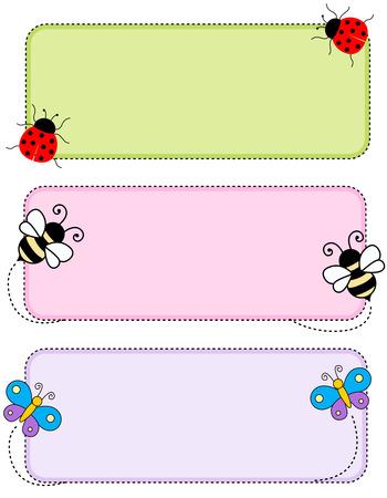 Ilustración de Colorful kids name tags /labels  with cute animal faces on corners - Imagen libre de derechos