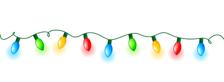 Illustration pour Colorful glowing christmas lights border / frame. Colorful holiday lights illustration - image libre de droit