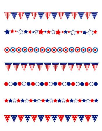 Ilustración de Patriotic divider / frame collection with flags stars and buntings - Imagen libre de derechos