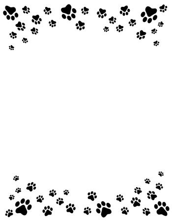 Illustration pour Black and white dog paw prints top and bottom border / header and footer on white background - image libre de droit