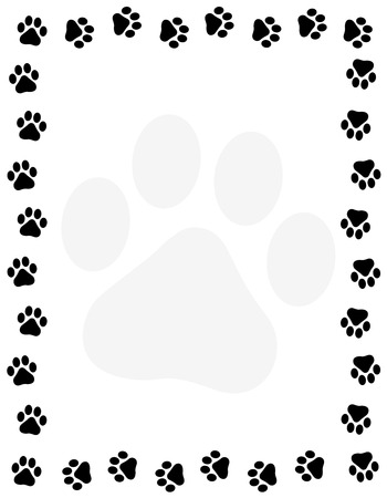 Ilustración de Dog pawprint border / frame on white background - Imagen libre de derechos