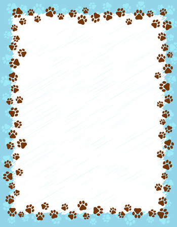Illustration pour Dog paw prints border / frame on light blue grunge background - image libre de droit