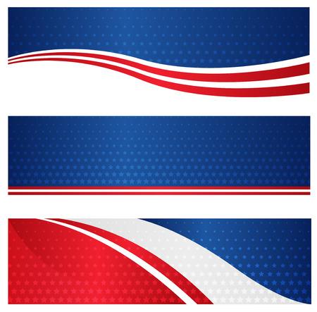Illustration pour 4th of july USA patriotic web header / banner collection on white background - image libre de droit