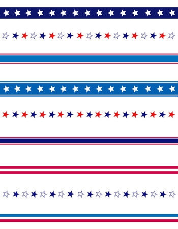 Ilustración de 4th of july page divider / line collection on white - Imagen libre de derechos