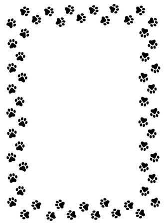 Ilustración de Dog paw prints border on white background - Imagen libre de derechos