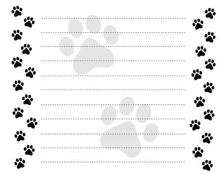 Ilustración de Black and white paw prints border / frame on a dotted line background - Imagen libre de derechos