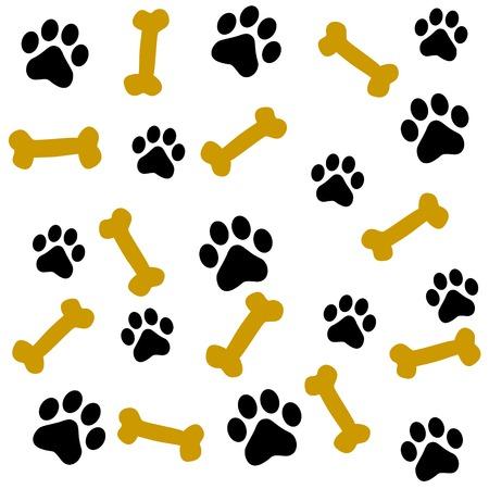 Illustration pour Dog paw prints and bone seamless pattern - image libre de droit