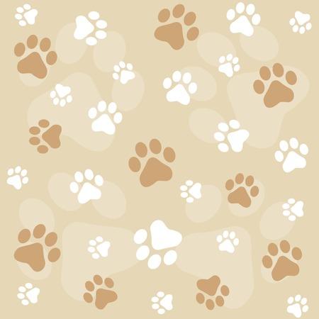 Ilustración de Dog paw prints seamless pattern with brown color paw prints - Imagen libre de derechos