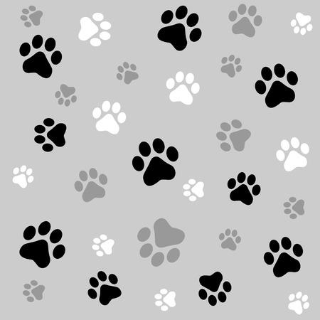 Ilustración de Animal paw prints seamless background with black and ash paw prints - Imagen libre de derechos