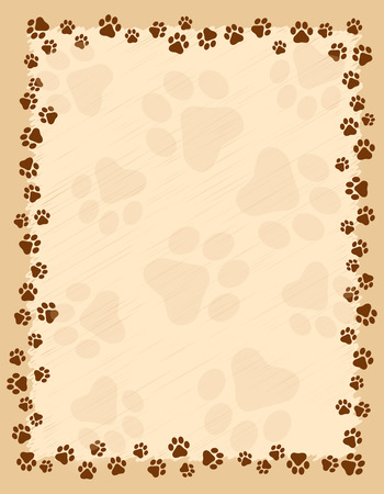 Ilustración de Dog paw prints border / frame on brown grunge background - Imagen libre de derechos