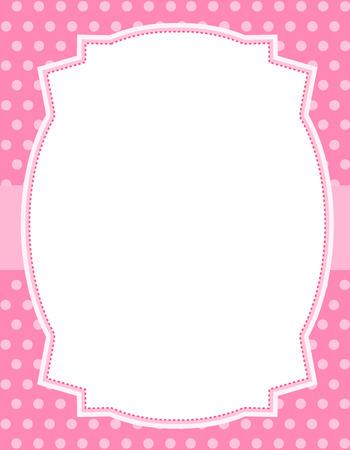 Ilustración de Pink polka dots  background with frame. & ribbon specially occasion greeting cards & invitations - Imagen libre de derechos