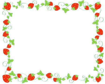 Illustration pour Red strawberries background / frame - image libre de droit