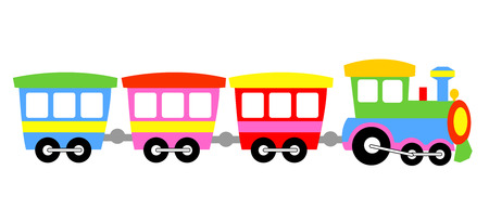 Illustration pour Cute colorful kids toy train isolated on white background illustration - image libre de droit