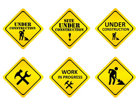 Illustration pour Yellow on black graphics signs or icons indicating a website is under constructions or in development. isolated on white background - image libre de droit