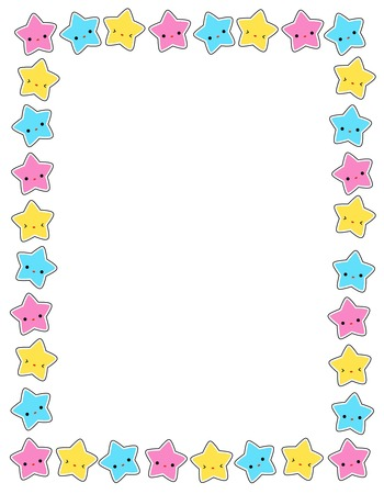 Illustration pour Cute colorful stars border / frame for greeting cards, party invitation backgrounds etc - image libre de droit