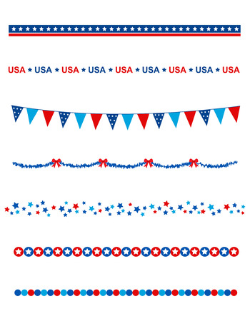 Illustration pour Blue and res stars and stripes divider / frame collection on white background - image libre de droit