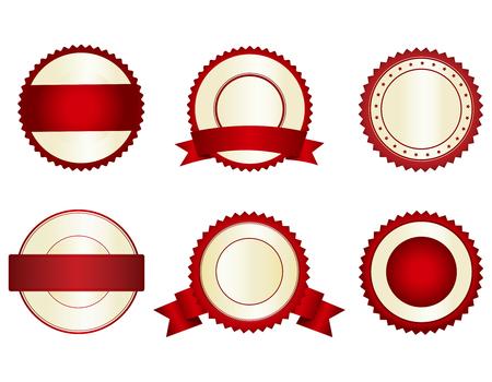 Illustration pour Collection of elegant red and gold empty stamps/ seals - image libre de droit