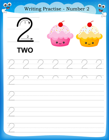 Ilustración de Writing practice number two printable worksheet for preschool / kindergarten kids to improve basic writing skills - Imagen libre de derechos