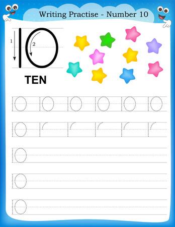 Ilustración de Writing practice number ten printable worksheet for preschool / kindergarten kids to improve basic writing skills - Imagen libre de derechos