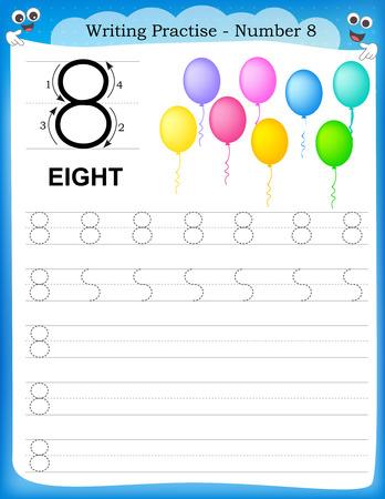 Ilustración de Writing practice number eight printable worksheet for preschool / kindergarten kids to improve basic writing skills - Imagen libre de derechos