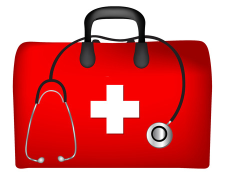 Illustration pour First aid box and stethoscope isolated on white background - image libre de droit