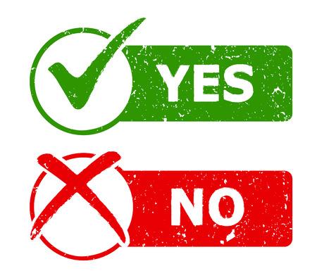 Illustration pour Yes and No grunge icons / web buttons. Vector illustration - image libre de droit