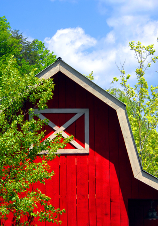 Foto de Wooden barn, painted red with white trim, is neat and well maintained.  Blue sky and green trees frame corner of barn. - Imagen libre de derechos