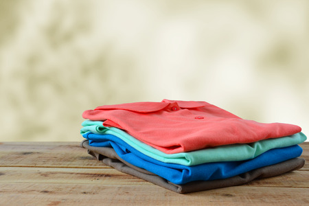 Photo for Stack of polo shirt. - Royalty Free Image