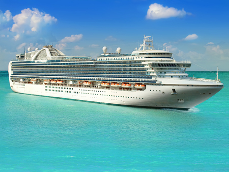 Luxury Cruise Ship Sailing from Port