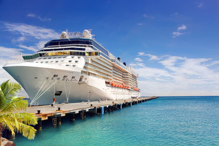 Photo pour Luxury Cruise Ship in Port on sunny day - image libre de droit