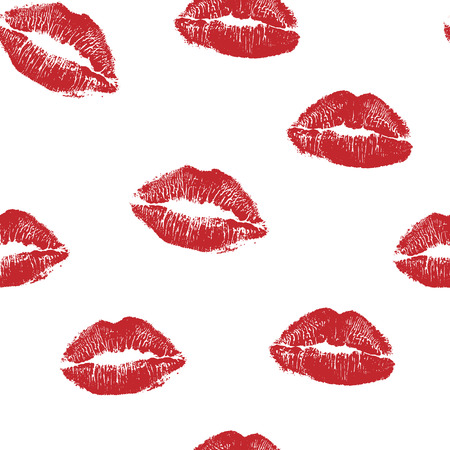 Illustration pour Vector woman red lipstick kiss prints seamless pattern. Red kisses for romantic, wedding and valentine backgrounds - image libre de droit