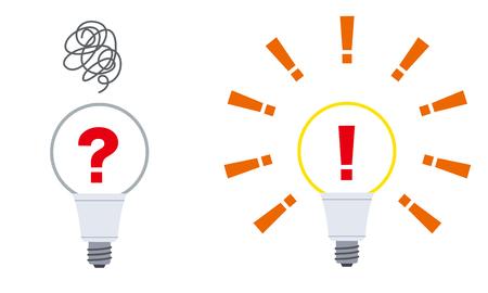 Ilustración de Question mark in the light bulb and Exclamation point - Imagen libre de derechos