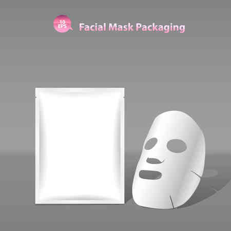 Illustration pour Paper facial mask for cosmetics and Sachet Packaging - image libre de droit