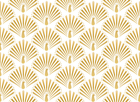 Illustration for Vector illustration of golden peacock in white background seamless pattern in art deco style - Royalty Free Image