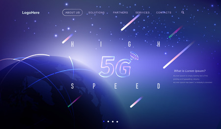 Illustration pour Vector 5G and IoT (Internet of Things) landing page with digital communication future technology images. Website template for internet speed concept or startup business. - image libre de droit