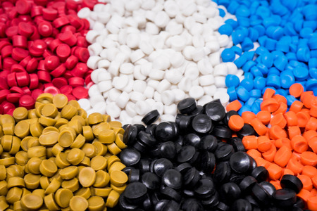 Photo for Mix Plastic pellets. Colorant for plastics. - Royalty Free Image