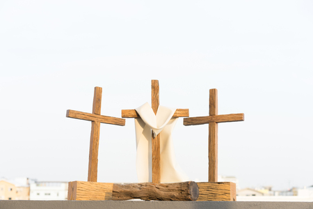 Foto per 3 crosses on the mountain in good friday. - Immagine Royalty Free