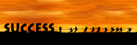 Photo for concept success and team work, The fight between success and people sunset background - Royalty Free Image
