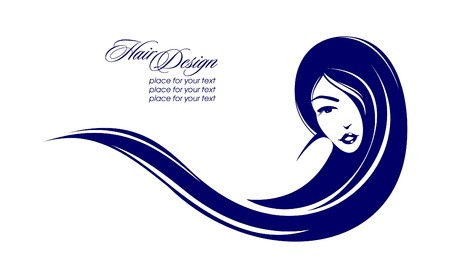 Illustration for Girl with long hair. Place for your text. Vector illustration  - Royalty Free Image