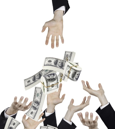 hand of businessman with falling money
