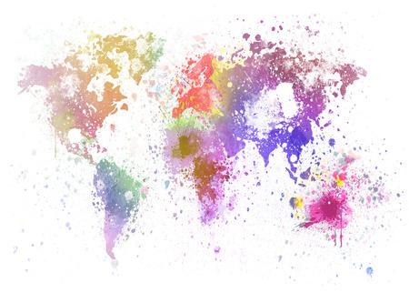 Photo pour world map painting on hand made paper - image libre de droit