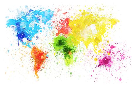 Foto de world map painting on hand made paper - Imagen libre de derechos