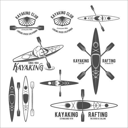 Illustration pour Set of vintage rafting, kayaking, paddling, canoeing camp logo, labels and badges. Kayak isolated vector. Kayak icon. Kayaker emblems. Kayaking logotypes. Rafting icons. Rafting team design - image libre de droit