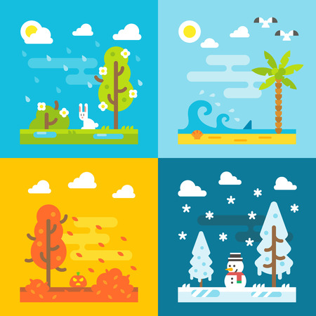 Ilustración de 4 seasons park flat design set illustration vecor - Imagen libre de derechos