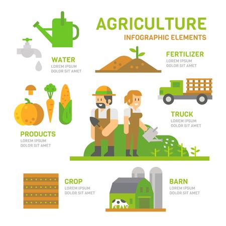 Ilustración de Agriculture farm flat design infographic illustration vector - Imagen libre de derechos